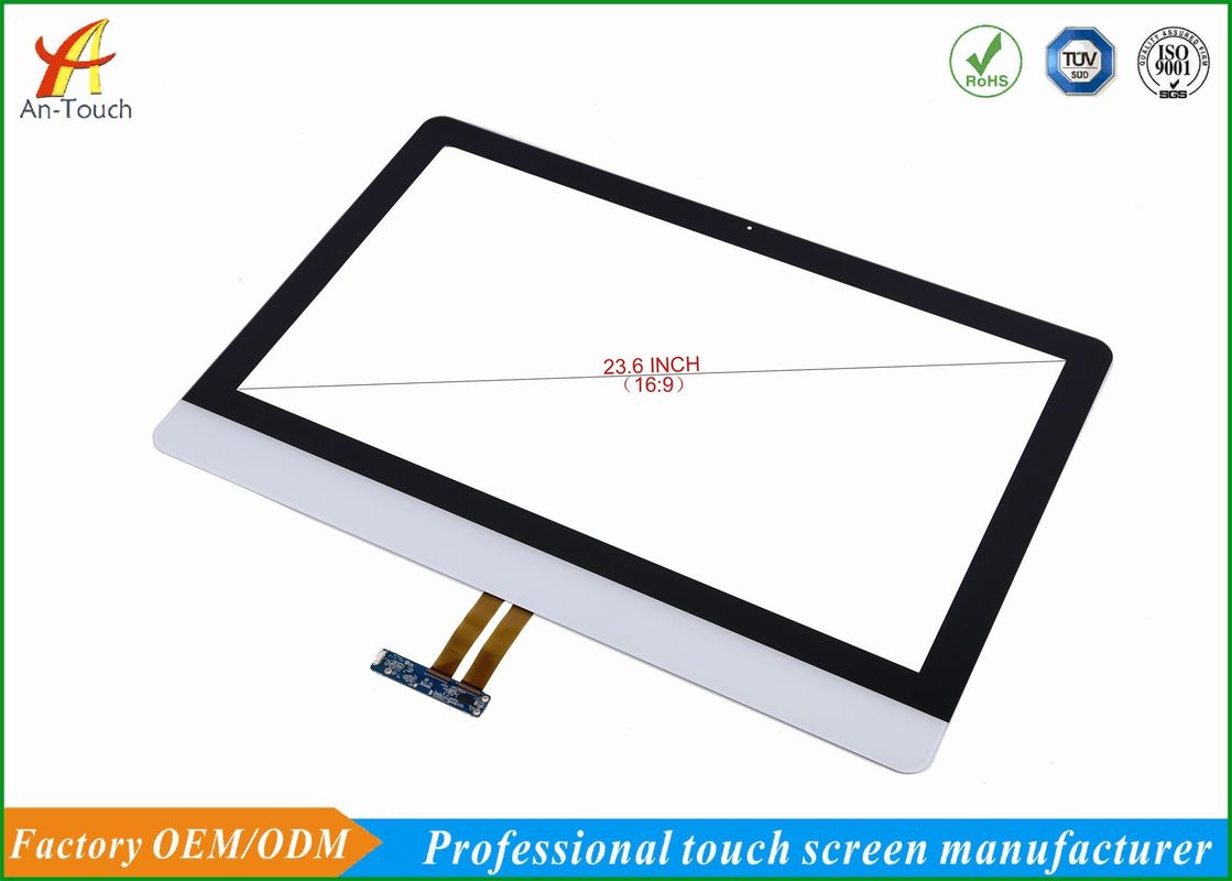 White Projected Advertising Touch Screen Panel 23.6 Inch Finger / Touch Pen Input